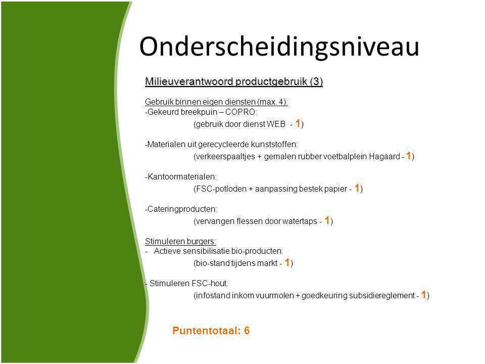 Onderscheidingsniveau Milieuverantwoord productgebruik (3) Gebruik binnen eigen diensten (max.