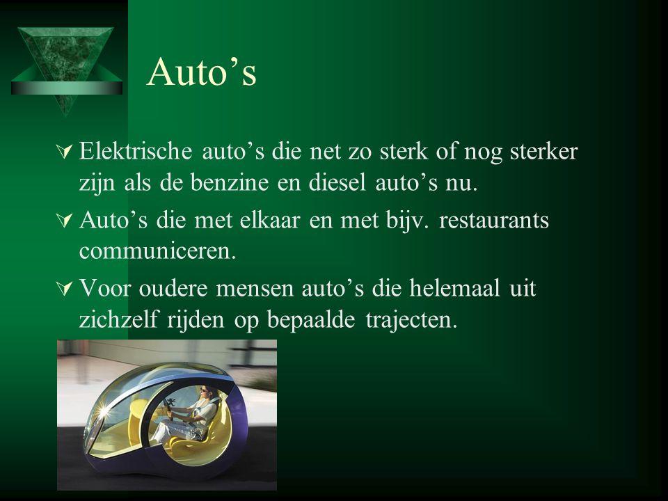Auto's  Elektrische auto's die net zo sterk of nog sterker zijn als de benzine en diesel auto's nu.