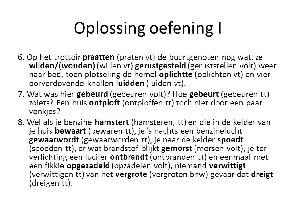 Oplossing oefening I 6.