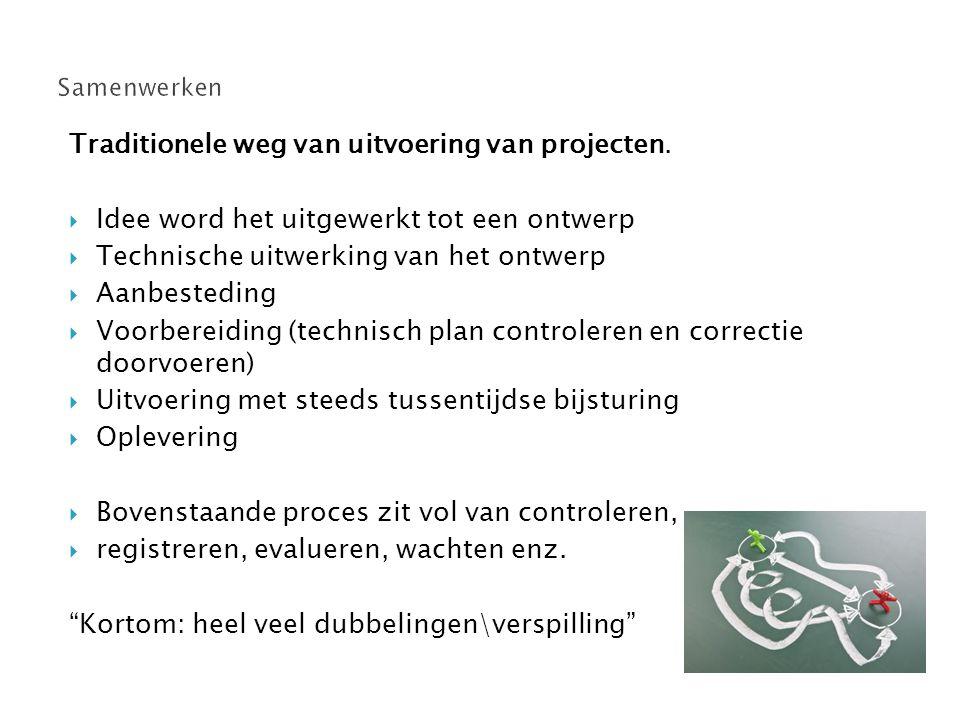 Traditionele weg van uitvoering van projecten.  Idee word het uitgewerkt tot een ontwerp  Technische uitwerking van het ontwerp  Aanbesteding  Voo