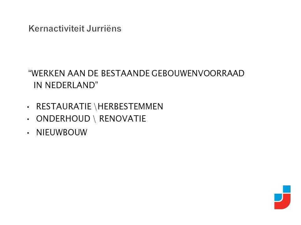 """""""WERKEN AAN DE BESTAANDE GEBOUWENVOORRAAD IN NEDERLAND"""" RESTAURATIE \HERBESTEMMEN ONDERHOUD \ RENOVATIE NIEUWBOUW"""