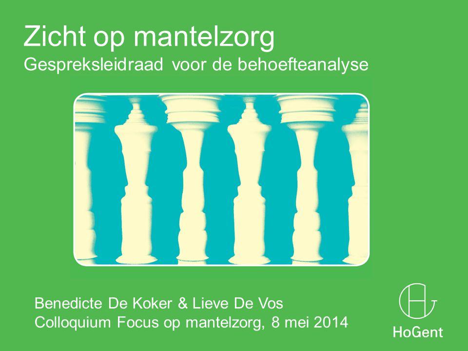 Zicht op mantelzorg Gespreksleidraad voor de behoefteanalyse 1 Benedicte De Koker & Lieve De Vos Colloquium Focus op mantelzorg, 8 mei 2014