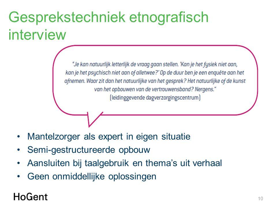 Gesprekstechniek etnografisch interview Mantelzorger als expert in eigen situatie Semi-gestructureerde opbouw Aansluiten bij taalgebruik en thema's ui