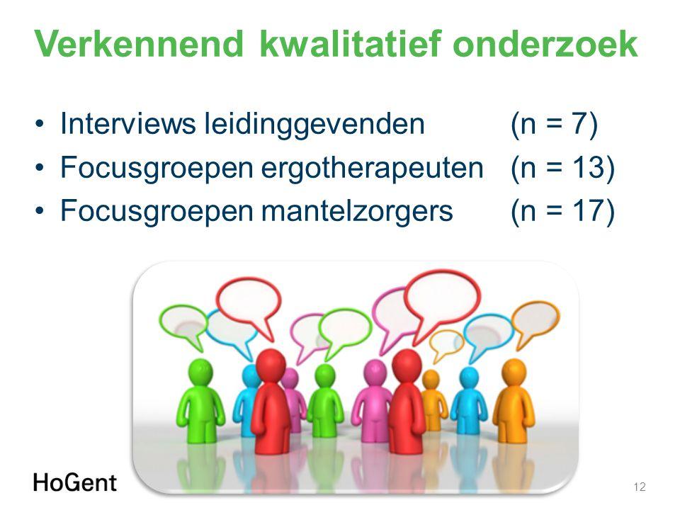 Verkennend kwalitatief onderzoek Interviews leidinggevenden (n = 7) Focusgroepen ergotherapeuten (n = 13) Focusgroepen mantelzorgers (n = 17) 12