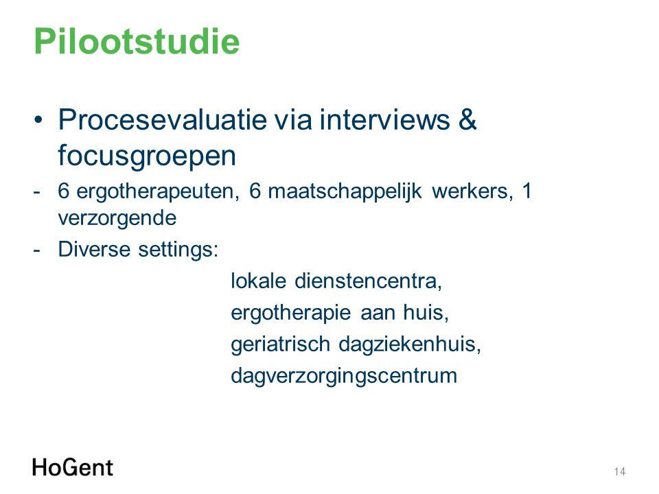 Pilootstudie 14 Procesevaluatie via interviews & focusgroepen -6 ergotherapeuten, 6 maatschappelijk werkers, 1 verzorgende -Diverse settings: lokale d