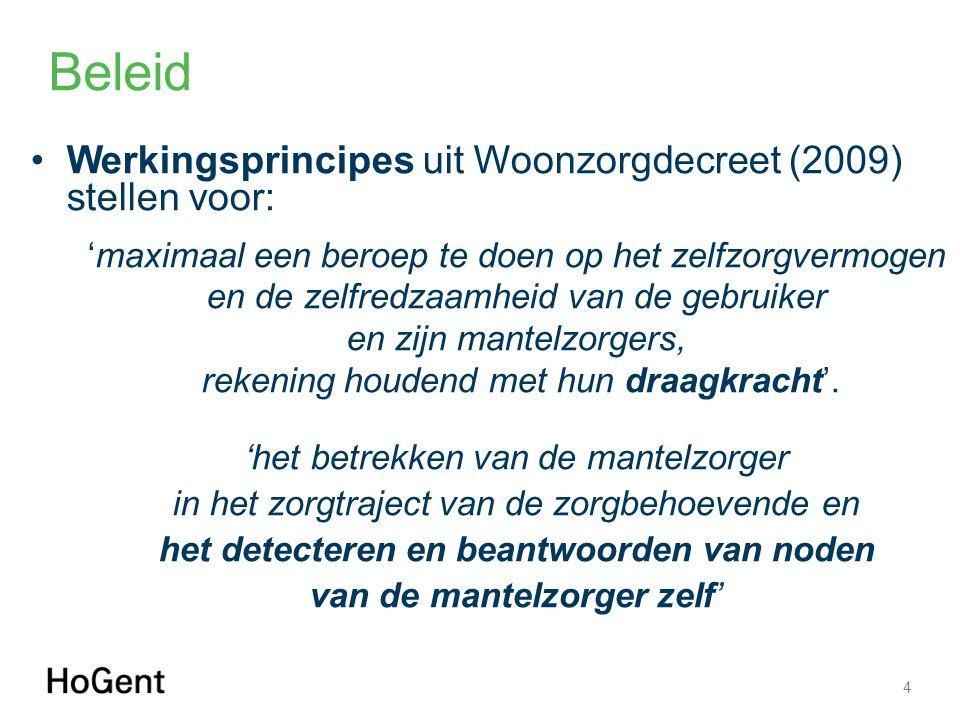 Beleid Werkingsprincipes uit Woonzorgdecreet (2009) stellen voor: 'maximaal een beroep te doen op het zelfzorgvermogen en de zelfredzaamheid van de ge