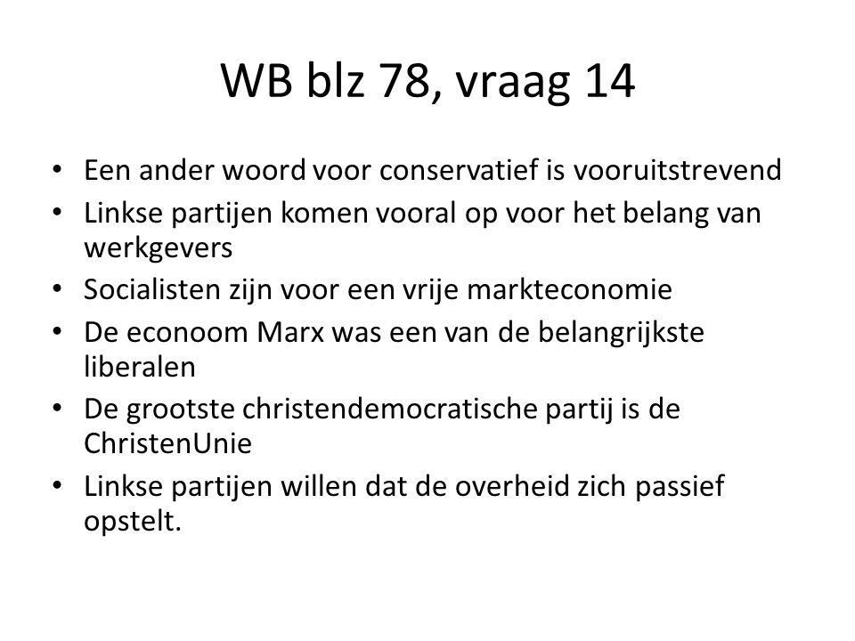 WB blz 78, vraag 14 Een ander woord voor conservatief is vooruitstrevend Linkse partijen komen vooral op voor het belang van werkgevers Socialisten zi