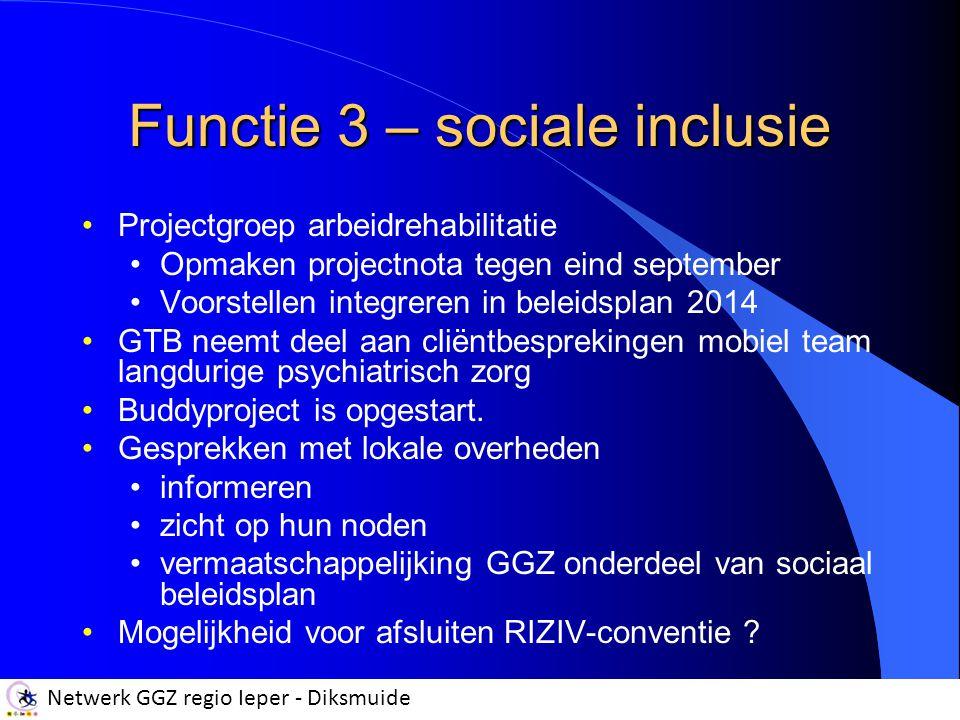 Netwerk GGZ regio Ieper - Diksmuide Functie 3 – sociale inclusie Projectgroep arbeidrehabilitatie Opmaken projectnota tegen eind september Voorstellen