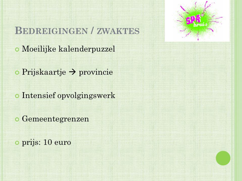 B EDREIGINGEN / ZWAKTES Moeilijke kalenderpuzzel Prijskaartje  provincie Intensief opvolgingswerk Gemeentegrenzen prijs: 10 euro