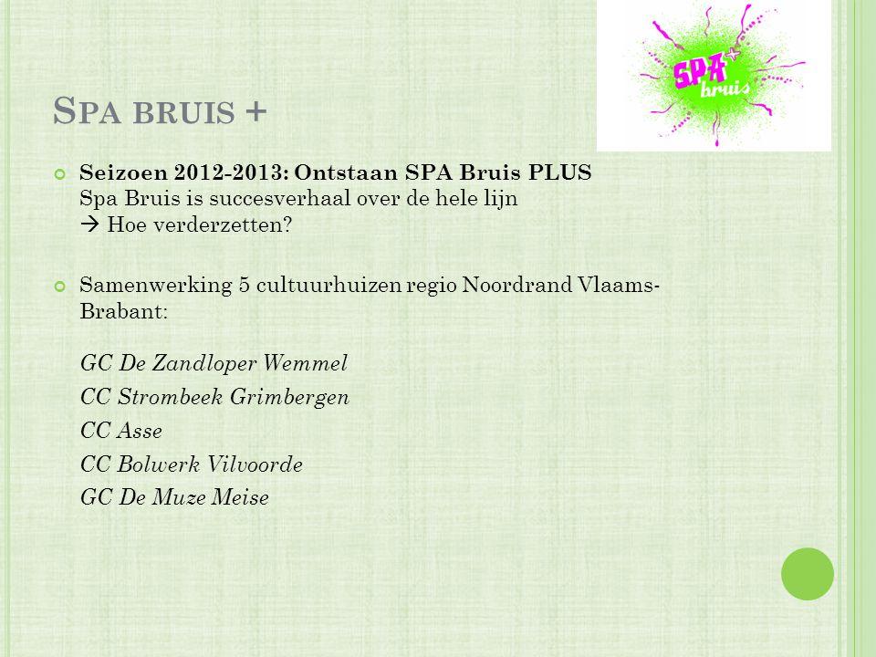 S PA BRUIS + Seizoen 2012-2013: Ontstaan SPA Bruis PLUS Spa Bruis is succesverhaal over de hele lijn  Hoe verderzetten? Samenwerking 5 cultuurhuizen