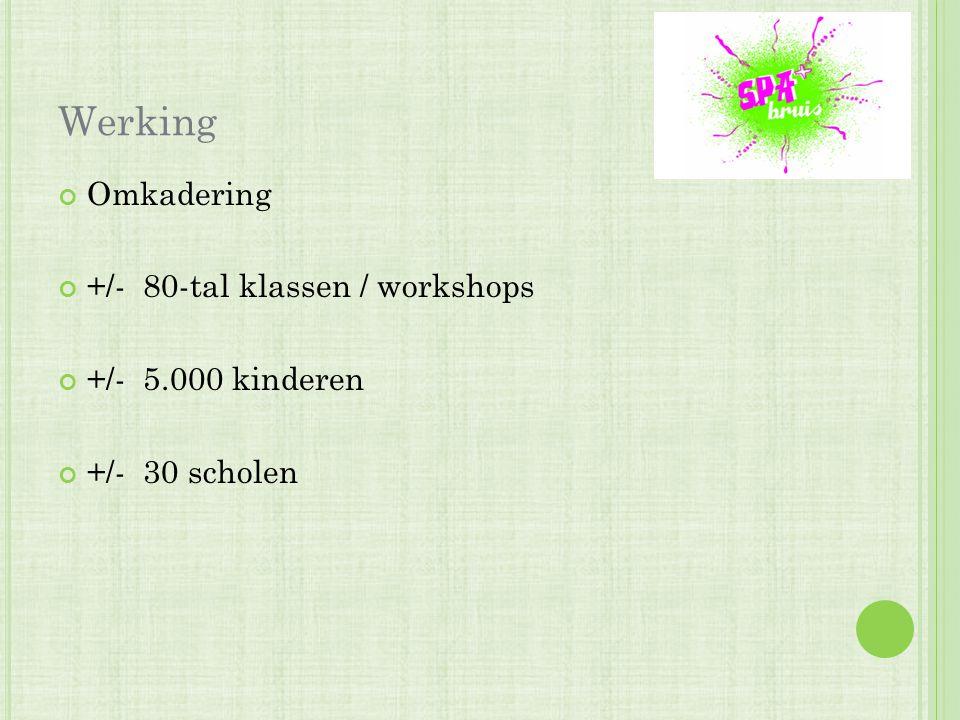 Werking Omkadering +/- 80-tal klassen / workshops +/- 5.000 kinderen +/- 30 scholen