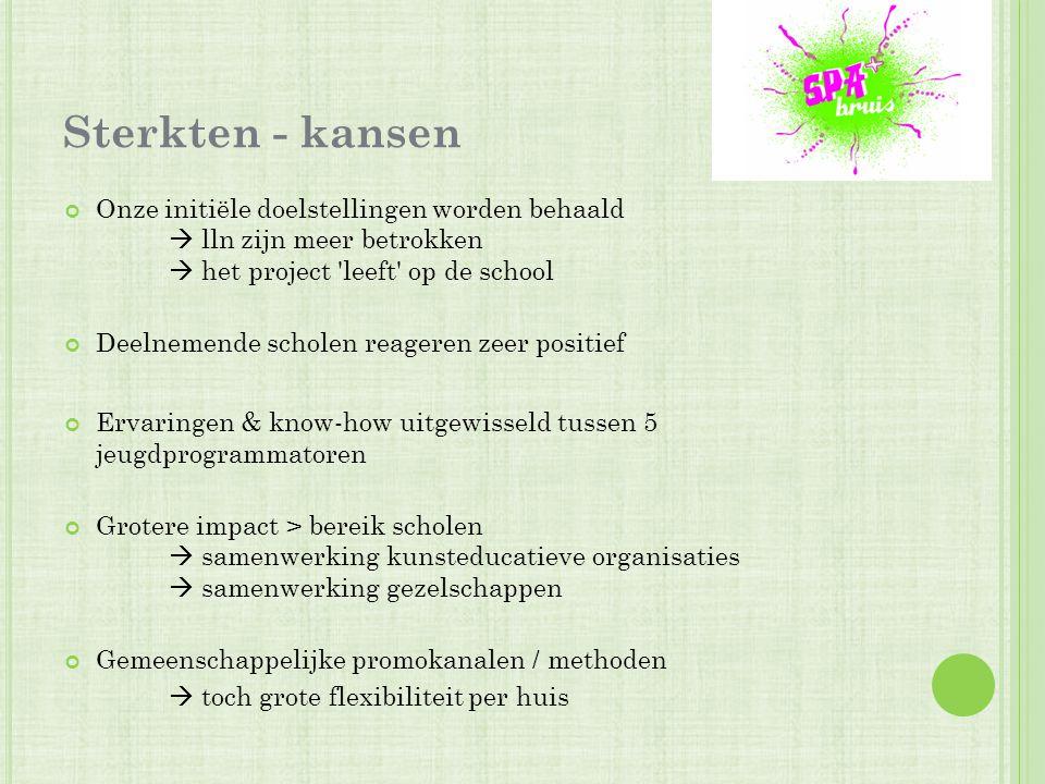 Sterkten - kansen Onze initiële doelstellingen worden behaald  lln zijn meer betrokken  het project 'leeft' op de school Deelnemende scholen reagere