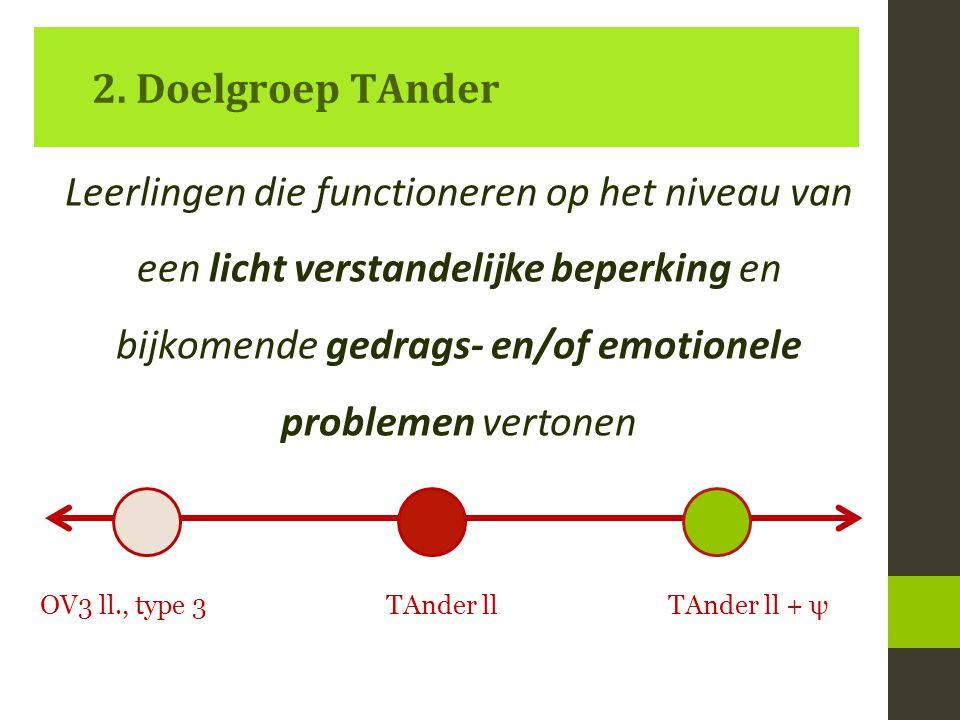 2. Doelgroep TAnder Leerlingen die functioneren op het niveau van een licht verstandelijke beperking en bijkomende gedrags- en/of emotionele problemen