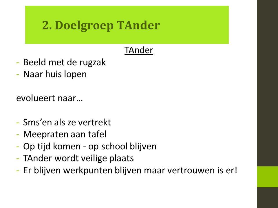 2. Doelgroep TAnder TAnder -Beeld met de rugzak -Naar huis lopen evolueert naar… -Sms'en als ze vertrekt -Meepraten aan tafel -Op tijd komen - op scho