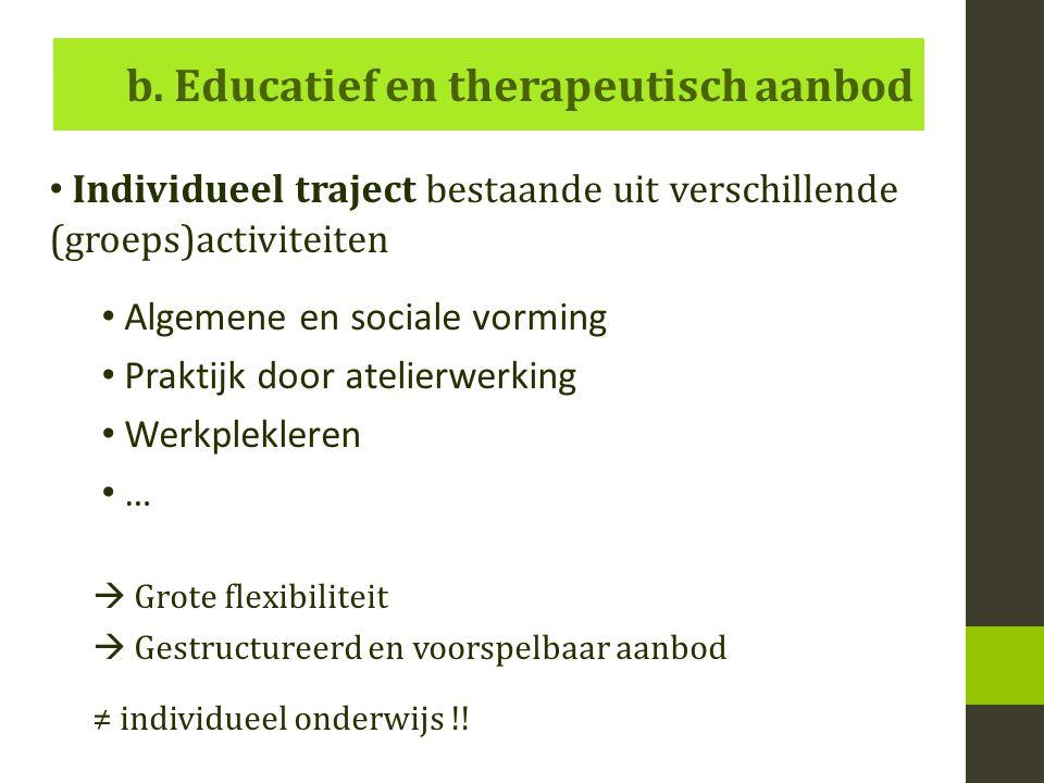 b. Educatief en therapeutisch aanbod Individueel traject bestaande uit verschillende (groeps)activiteiten Algemene en sociale vorming Praktijk door at