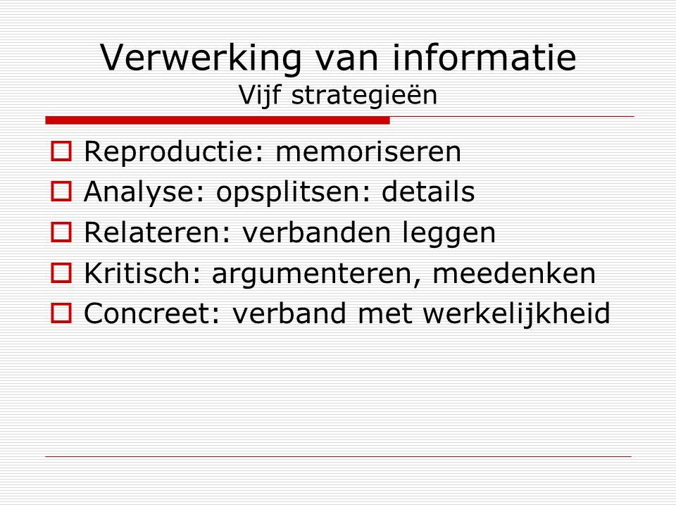 Verwerking van informatie Vijf strategieën  Reproductie: memoriseren  Analyse: opsplitsen: details  Relateren: verbanden leggen  Kritisch: argumen