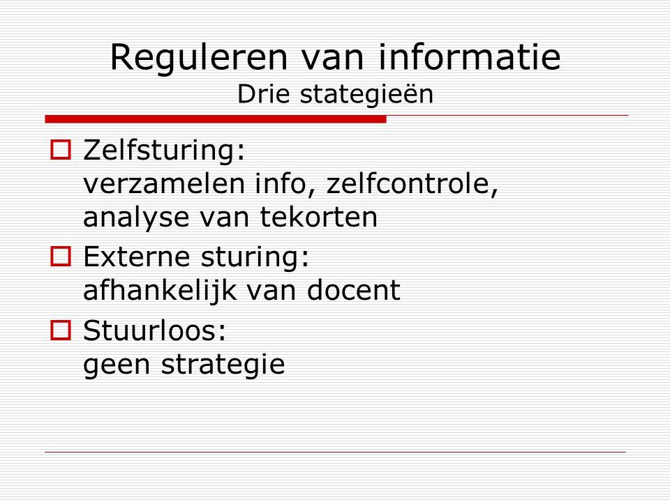 Reguleren van informatie Drie stategieën  Zelfsturing: verzamelen info, zelfcontrole, analyse van tekorten  Externe sturing: afhankelijk van docent