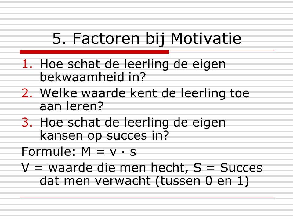 5. Factoren bij Motivatie 1.Hoe schat de leerling de eigen bekwaamheid in? 2.Welke waarde kent de leerling toe aan leren? 3.Hoe schat de leerling de e
