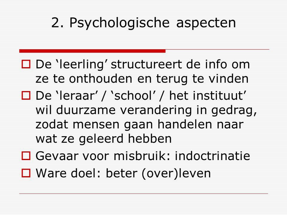 2. Psychologische aspecten  De 'leerling' structureert de info om ze te onthouden en terug te vinden  De 'leraar' / 'school' / het instituut' wil du