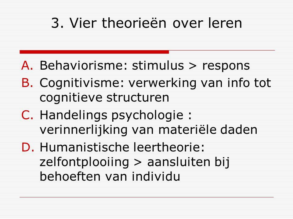 3. Vier theorieën over leren A.Behaviorisme: stimulus > respons B.Cognitivisme: verwerking van info tot cognitieve structuren C.Handelings psychologie
