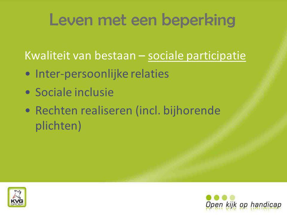 Leven met een beperking Kwaliteit van bestaan – sociale participatie Inter-persoonlijke relaties Sociale inclusie Rechten realiseren (incl.