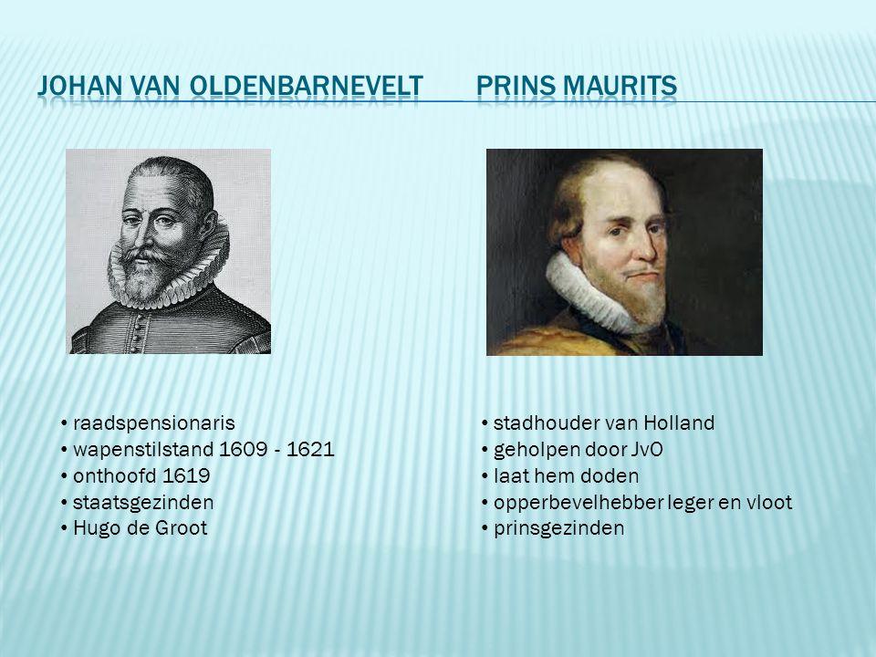raadspensionaris wapenstilstand 1609 - 1621 onthoofd 1619 staatsgezinden Hugo de Groot stadhouder van Holland geholpen door JvO laat hem doden opperbe