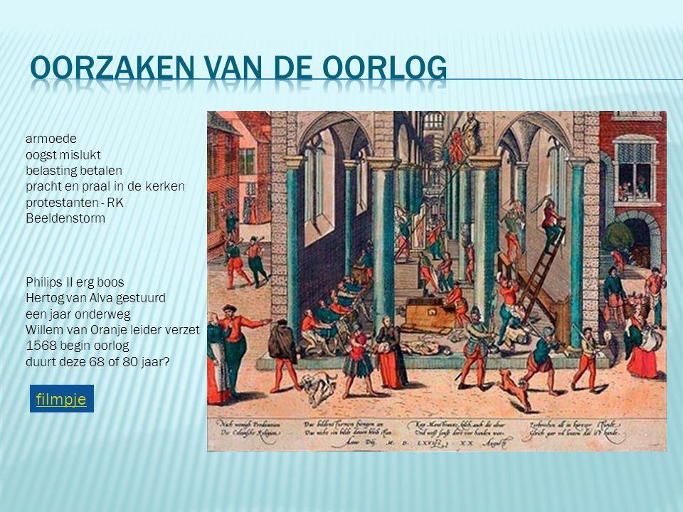 armoede oogst mislukt belasting betalen pracht en praal in de kerken protestanten - RK Beeldenstorm Philips II erg boos Hertog van Alva gestuurd een j