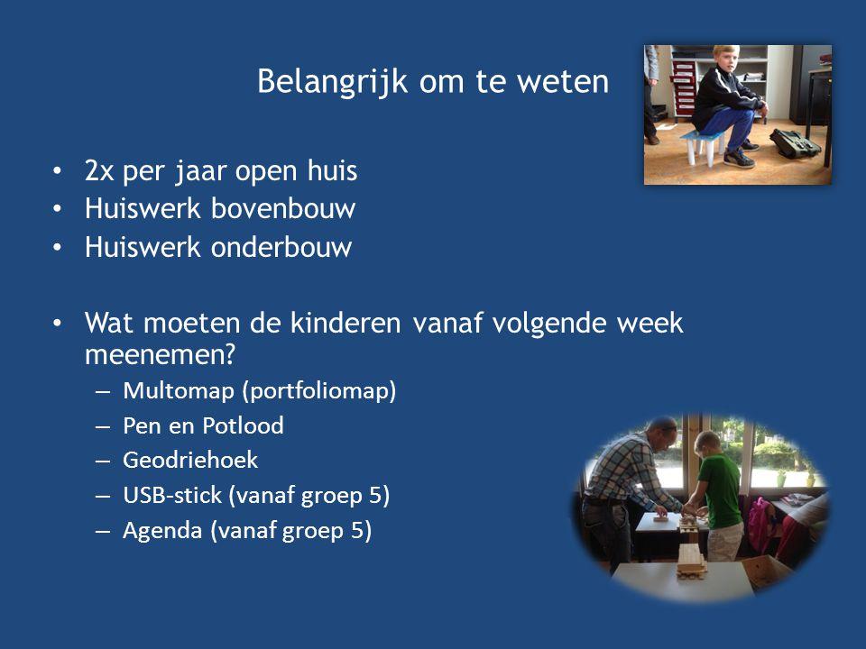 Belangrijk om te weten 2x per jaar open huis Huiswerk bovenbouw Huiswerk onderbouw Wat moeten de kinderen vanaf volgende week meenemen.