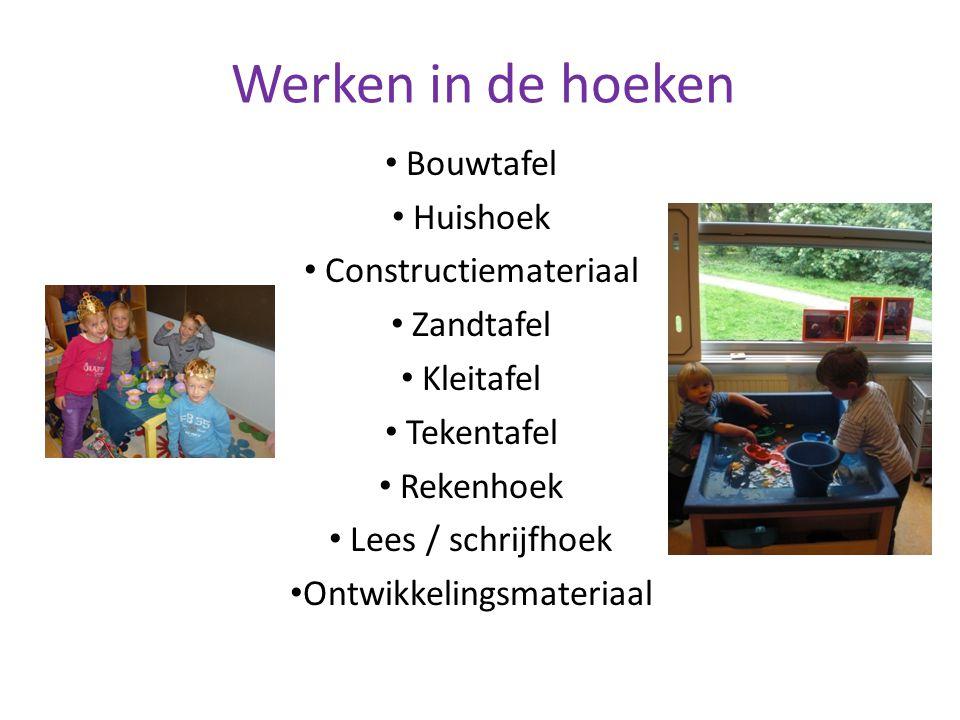 Werken in de hoeken Bouwtafel Huishoek Constructiemateriaal Zandtafel Kleitafel Tekentafel Rekenhoek Lees / schrijfhoek Ontwikkelingsmateriaal