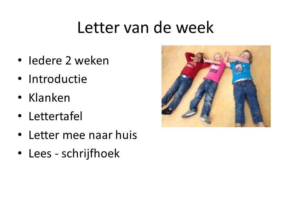 Letter van de week Iedere 2 weken Introductie Klanken Lettertafel Letter mee naar huis Lees - schrijfhoek