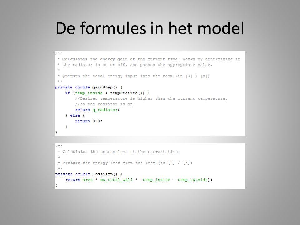 De formules in het model