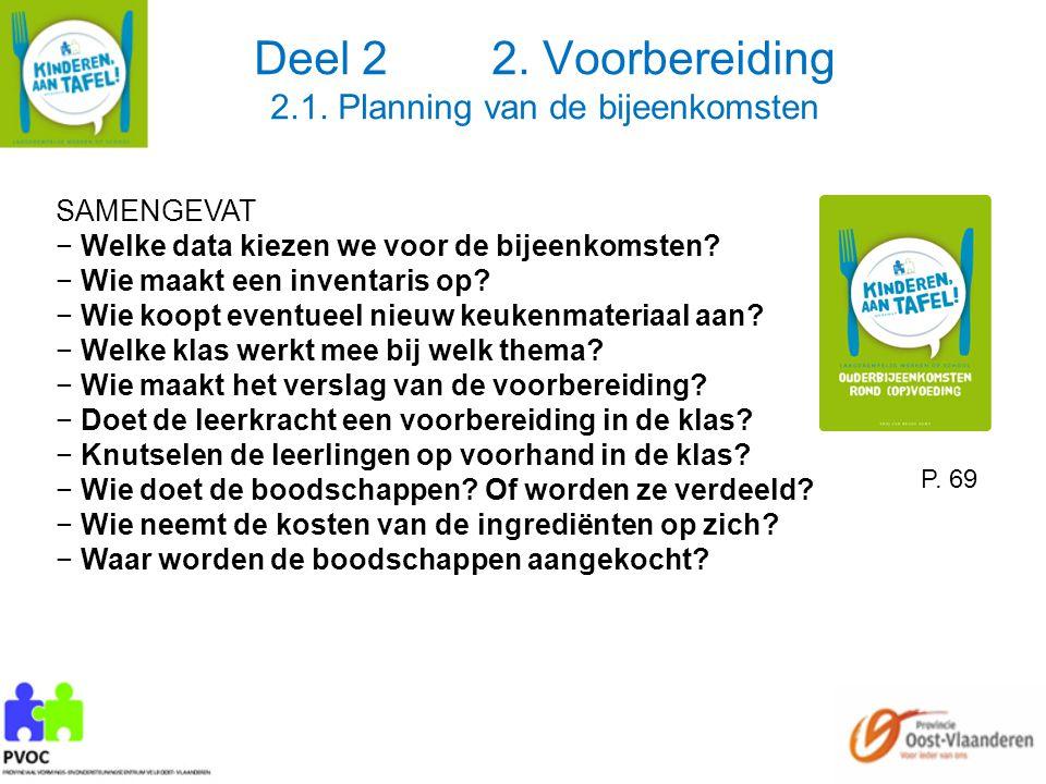 Deel 2 2. Voorbereiding 2.1. Planning van de bijeenkomsten SAMENGEVAT − Welke data kiezen we voor de bijeenkomsten? − Wie maakt een inventaris op? − W