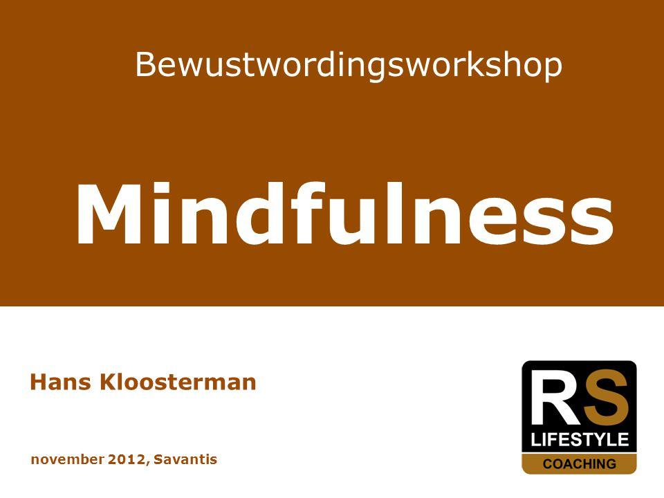 Bewustwordingsworkshop Mindfulness Hans Kloosterman november 2012, Savantis