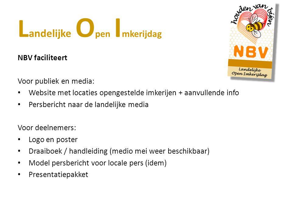Voor publiek en media: Website met locaties opengestelde imkerijen + aanvullende info Persbericht naar de landelijke media Voor deelnemers: Logo en po