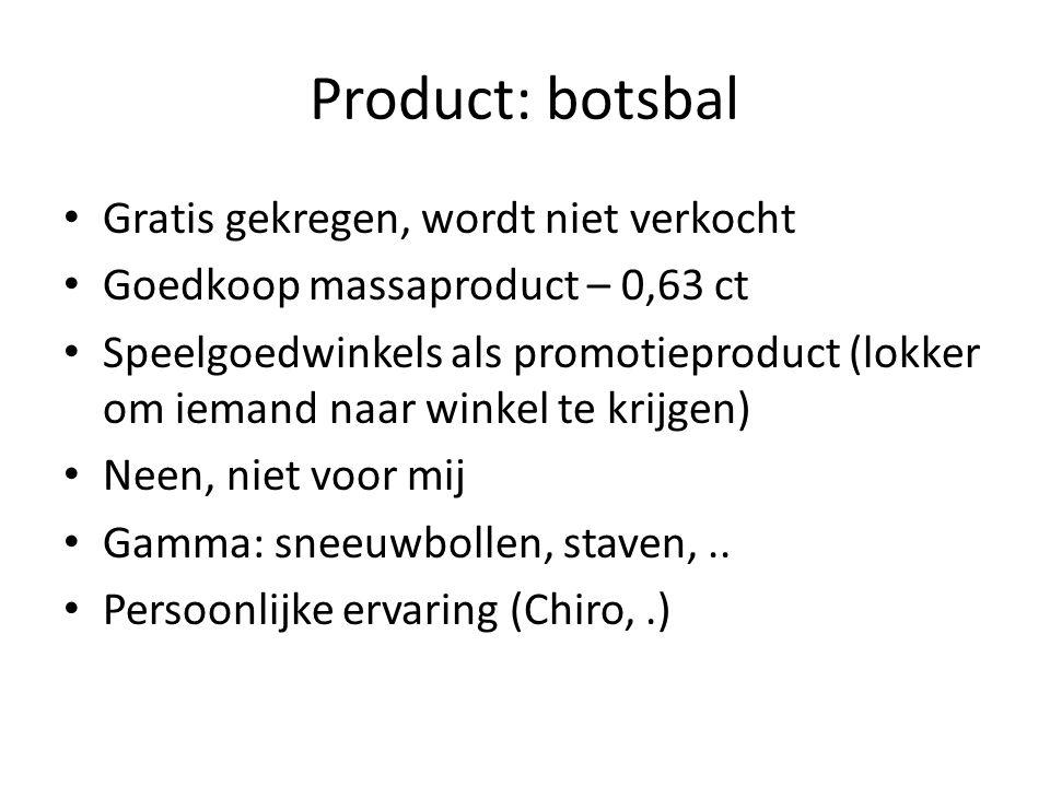 Product: botsbal Gratis gekregen, wordt niet verkocht Goedkoop massaproduct – 0,63 ct Speelgoedwinkels als promotieproduct (lokker om iemand naar winkel te krijgen) Neen, niet voor mij Gamma: sneeuwbollen, staven,..