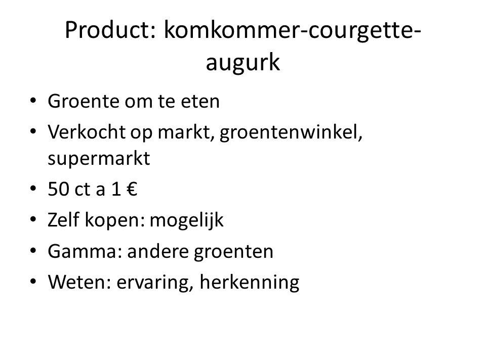 Product: komkommer-courgette- augurk Groente om te eten Verkocht op markt, groentenwinkel, supermarkt 50 ct a 1 € Zelf kopen: mogelijk Gamma: andere groenten Weten: ervaring, herkenning