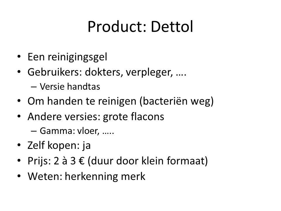 Product: Dettol Een reinigingsgel Gebruikers: dokters, verpleger, ….