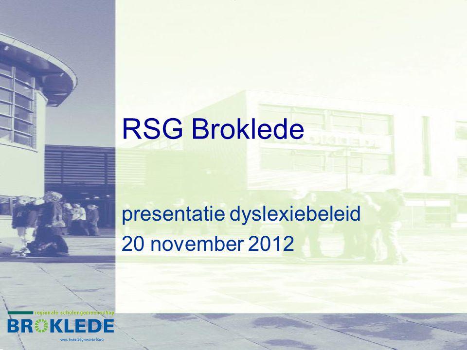 RSG Broklede presentatie dyslexiebeleid 20 november 2012