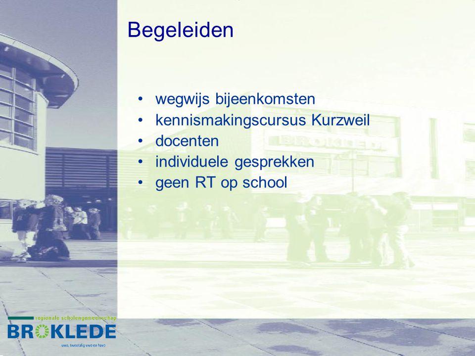 wegwijs bijeenkomsten kennismakingscursus Kurzweil docenten individuele gesprekken geen RT op school Begeleiden