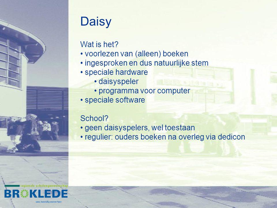 Daisy Wat is het? voorlezen van (alleen) boeken ingesproken en dus natuurlijke stem speciale hardware daisyspeler programma voor computer speciale sof