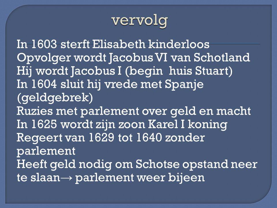In 1603 sterft Elisabeth kinderloos Opvolger wordt Jacobus VI van Schotland Hij wordt Jacobus I (begin huis Stuart) In 1604 sluit hij vrede met Spanje