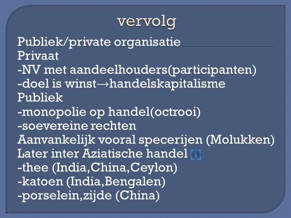 Publiek/private organisatie Privaat -NV met aandeelhouders(participanten) -doel is winst → handelskapitalisme Publiek -monopolie op handel(octrooi) -s