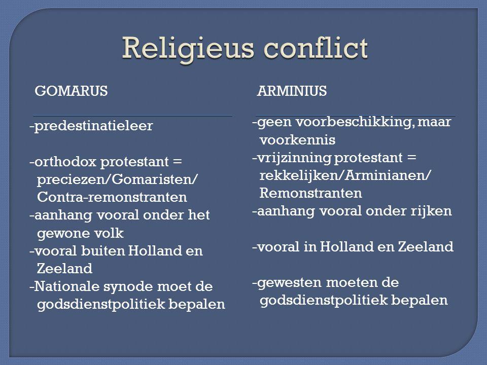 GOMARUSARMINIUS -predestinatieleer -orthodox protestant = preciezen/Gomaristen/ Contra-remonstranten -aanhang vooral onder het gewone volk -vooral bui