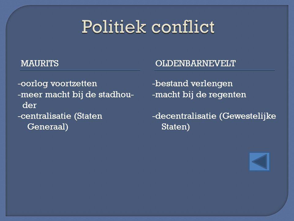 MAURITSOLDENBARNEVELT -oorlog voortzetten -meer macht bij de stadhou- der -centralisatie (Staten Generaal) -bestand verlengen -macht bij de regenten -