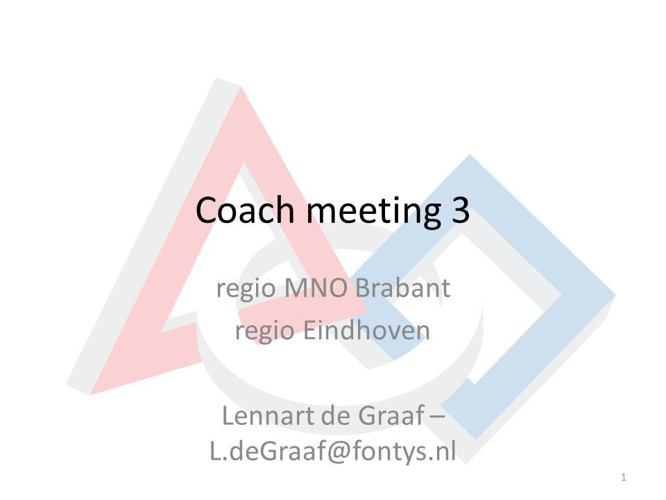 Coach meeting 3 regio MNO Brabant regio Eindhoven Lennart de Graaf – L.deGraaf@fontys.nl 1