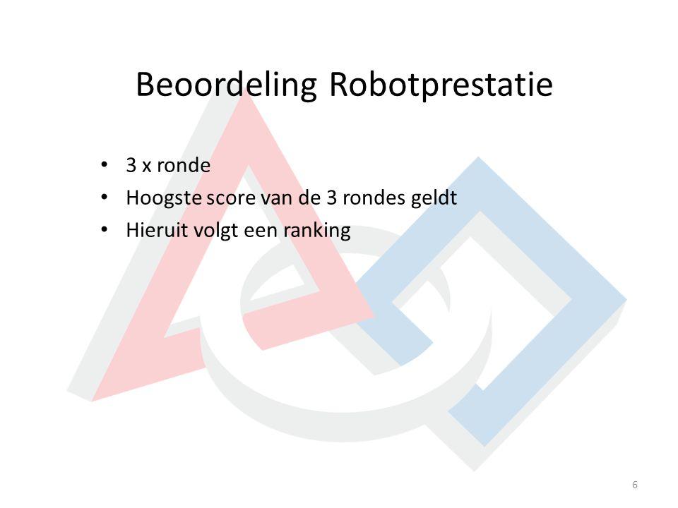 Beoordeling Robotprestatie 6 3 x ronde Hoogste score van de 3 rondes geldt Hieruit volgt een ranking