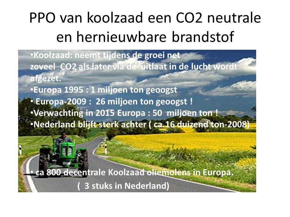PPO van koolzaad een CO2 neutrale en hernieuwbare brandstof Koolzaad: neemt tijdens de groei net zoveel CO2 als later via de uitlaat in de lucht wordt afgezet.