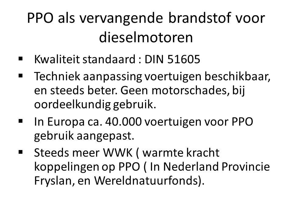 PPO als vervangende brandstof voor dieselmotoren  Kwaliteit standaard : DIN 51605  Techniek aanpassing voertuigen beschikbaar, en steeds beter.