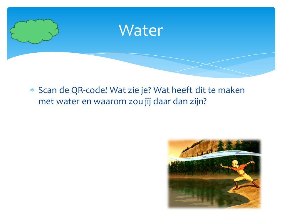  Scan de QR-code! Wat zie je? Wat heeft dit te maken met water en waarom zou jij daar dan zijn? Water