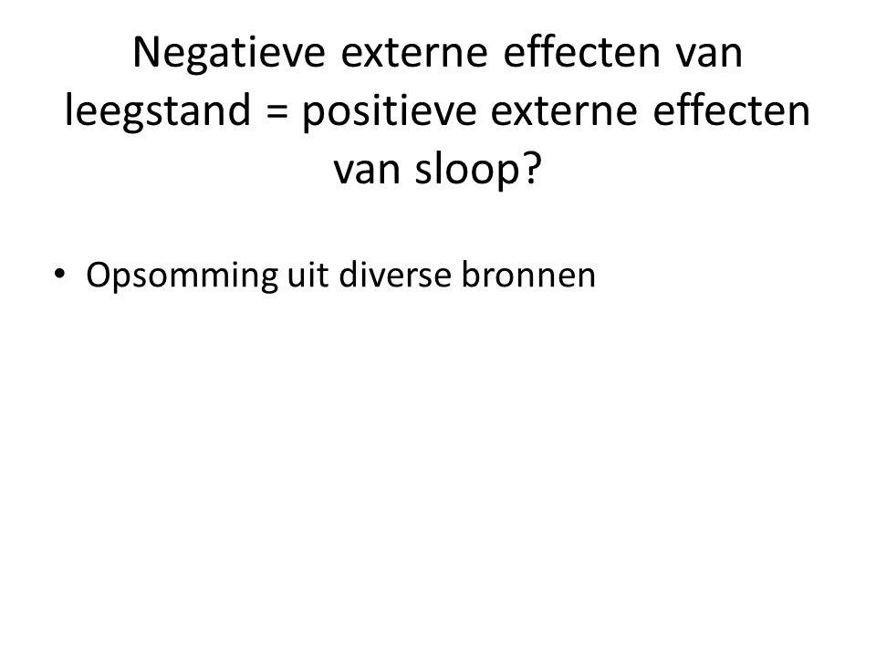 Negatieve externe effecten van leegstand = positieve externe effecten van sloop? Opsomming uit diverse bronnen